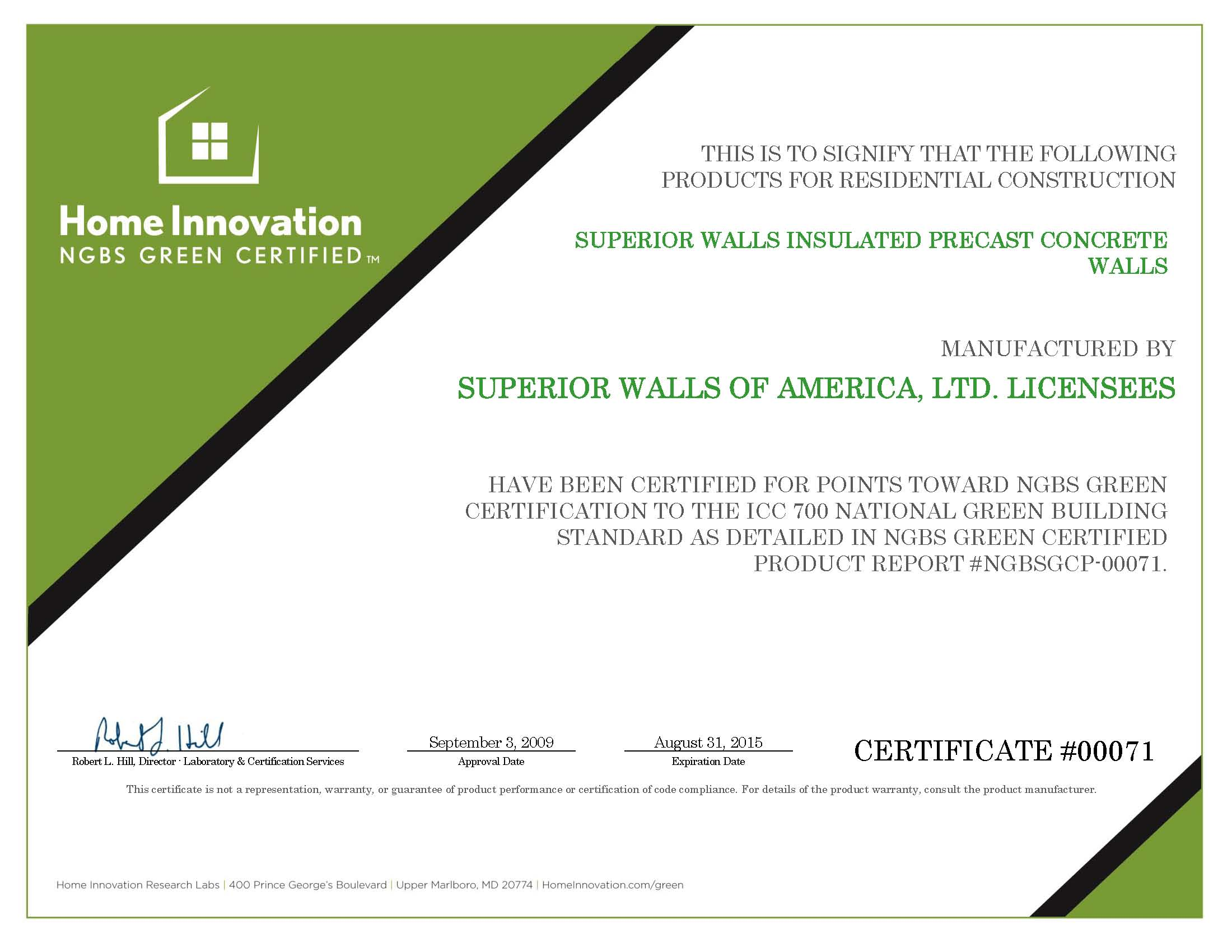 SUPERIOR WALLS Precast Concrete 2014-2015 – NGBS Green Certified – Certificate 00071_Page_1
